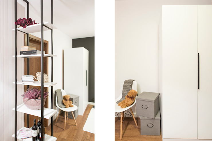 Mieszkanie – Warszawa – 45 m2 Nowoczesny korytarz, przedpokój i schody od Mprojekt Nowoczesny