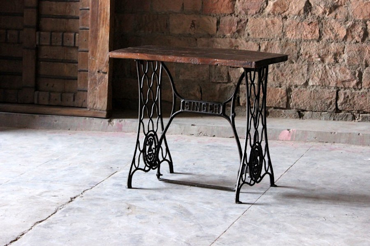 Maya 'Vintage' Cast Iron Sewing Machine Table de Little Tree Furniture Rústico
