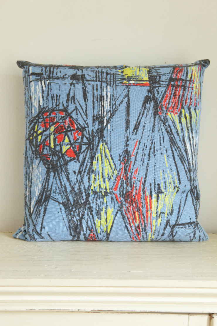 Cushion made from mid-century printed bark cloth fabric The OK Corral Living roomAccessories & decoration
