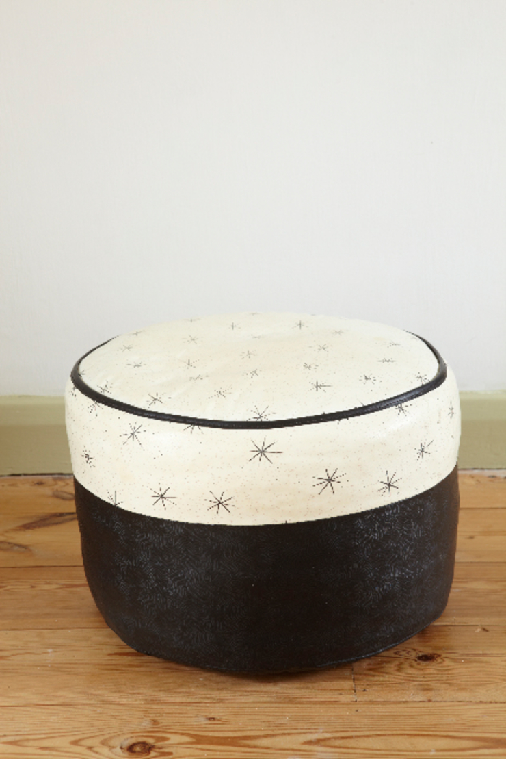 Mid-century black and white pouffé The OK Corral Living roomAccessories & decoration