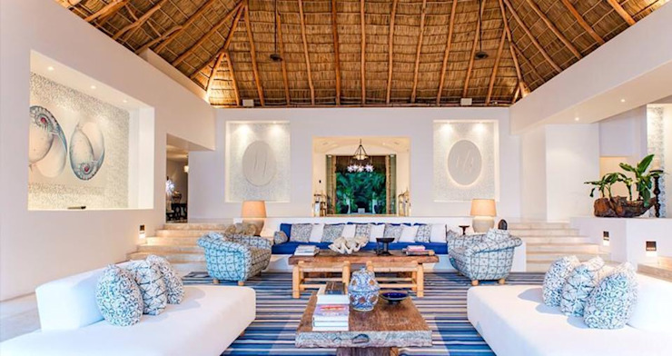 Living room by BR  ARQUITECTOS, Tropical