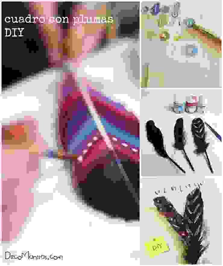 Cuadro con plumas DIY de DecoManitas Ecléctico