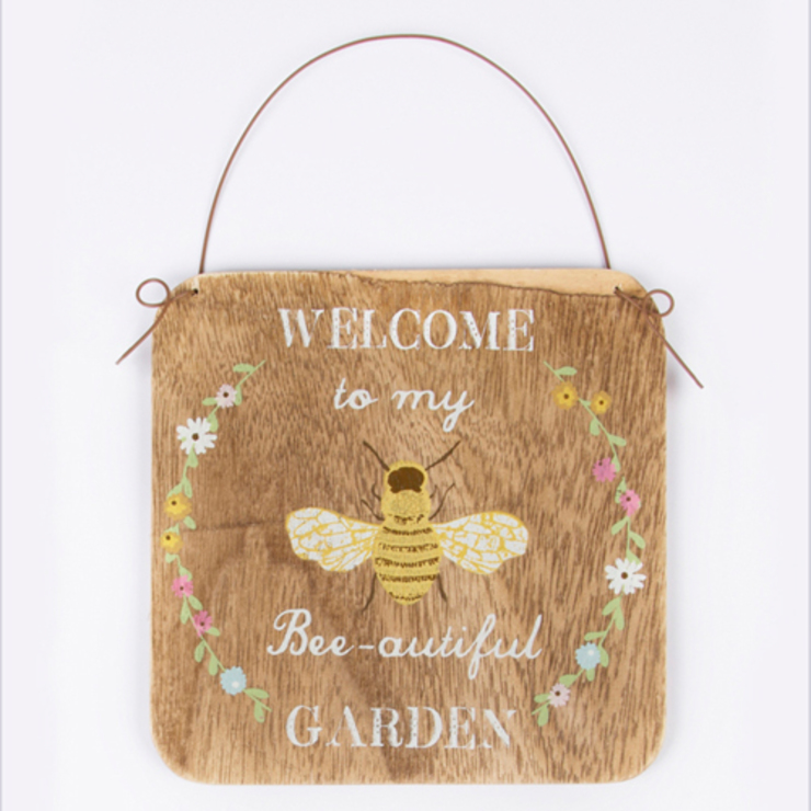 Welcome to my Bee - autiful Garden sign - rustic hanging bees plaque de Tittlemouse Rústico