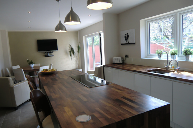 Solid wooden worktops with reduced depth induction hob Harvey's Select KitchenBench tops