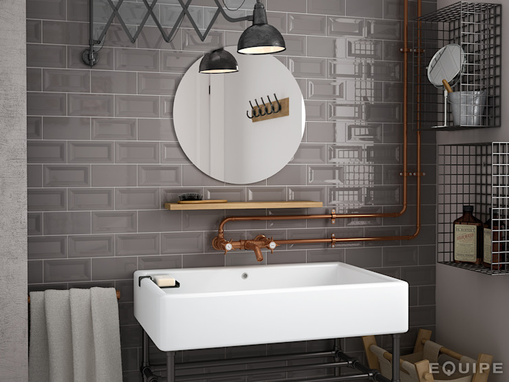 ​Evolution Inmetro Dark Grey / Evolution Gris Oscuro 7,5x15: Baños de estilo  de Equipe Ceramicas,