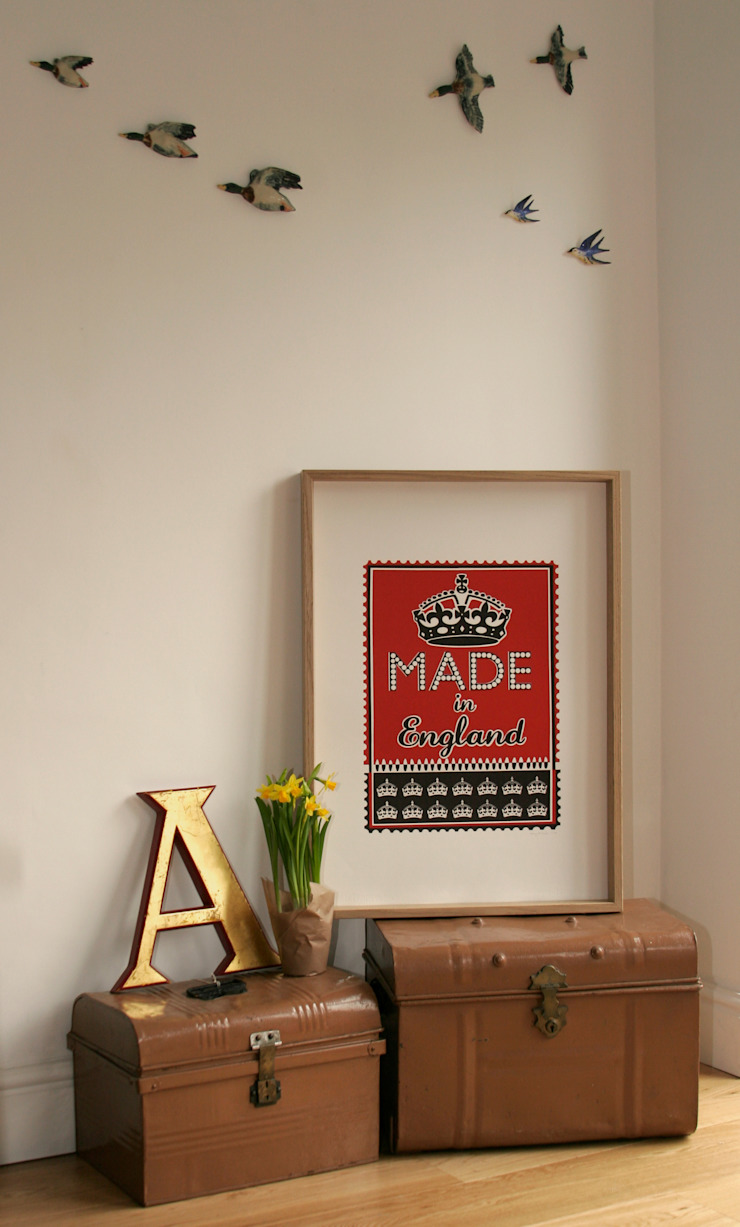 Made in England (red) Print: modern  by Mary Fellows, Modern