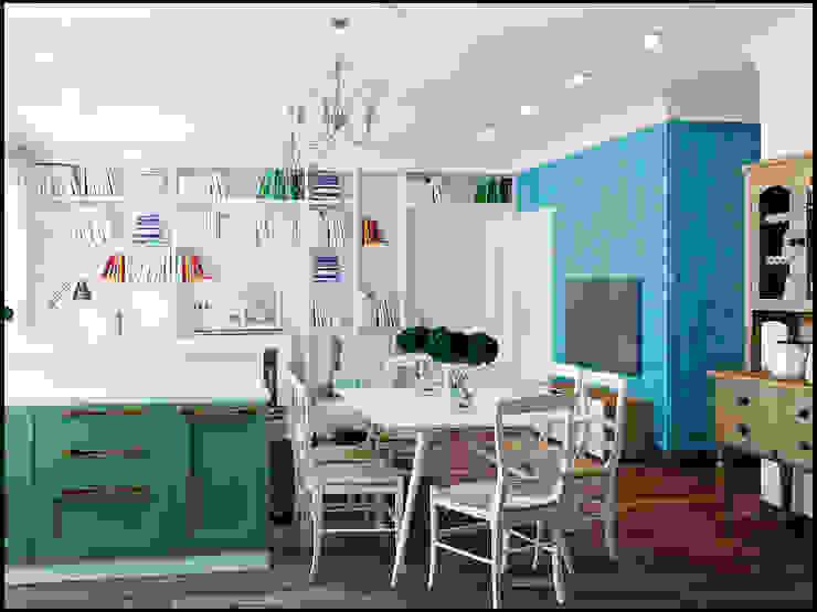Проект совмещенного помещения столовая,кухня гостиная. Частная квартира Екатеринбург Столовая комната в средиземноморском стиле от Частный дизайнер и декоратор Девятайкина Софья Средиземноморский