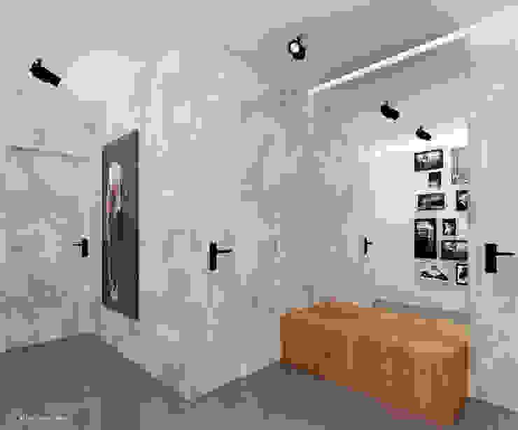 Przedpokój w szarości Minimalistyczny korytarz, przedpokój i schody od Ale design Grzegorz Grzywacz Minimalistyczny