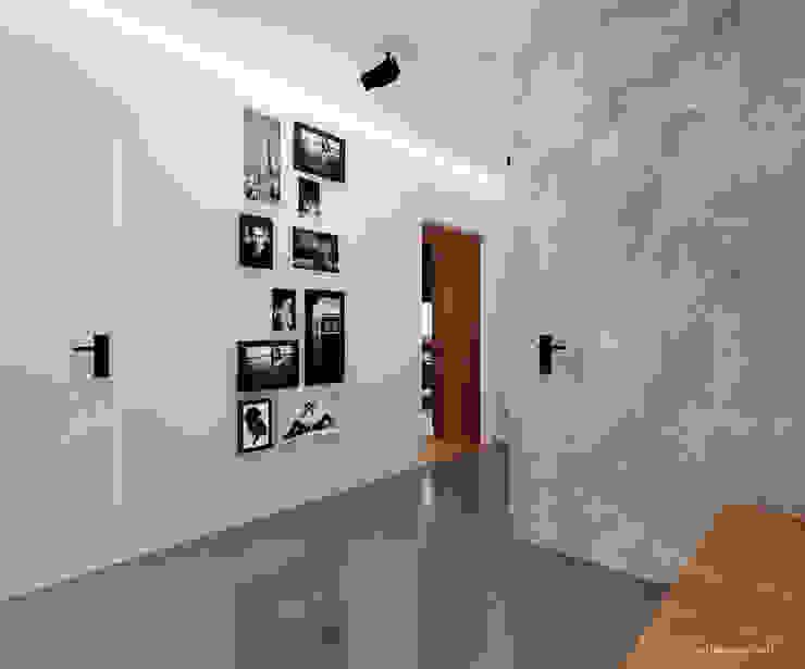 Przedpokój w szarości www.aledesign.com.pl Minimalistyczny korytarz, przedpokój i schody od Ale design Grzegorz Grzywacz Minimalistyczny