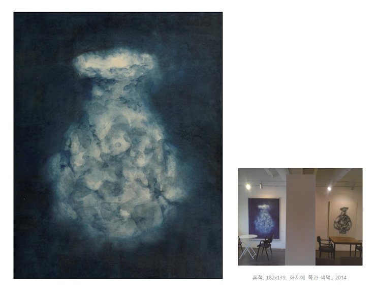 Breath of Traces, 182x139cm, korean paper on indigo, 2014 by 흔적찾기 프로젝트