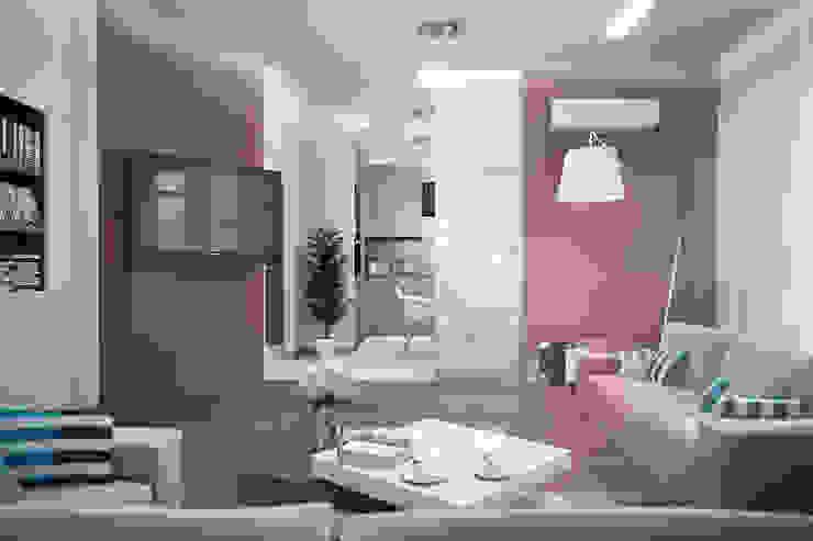 Гостиная с библиотекой Гостиная в стиле модерн от Студия дизайна Interior Design IDEAS Модерн