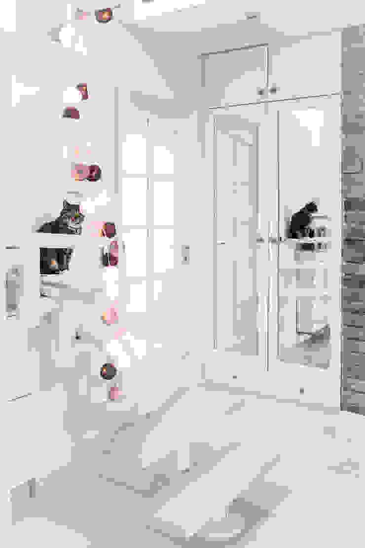 Mieszkanie na poddaszu 85m2 Meblościanka Studio Skandynawski korytarz, przedpokój i schody