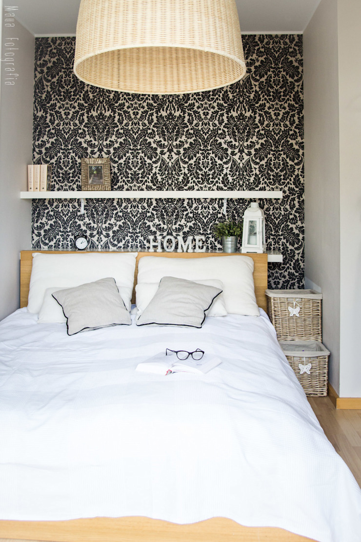 Mieszkanie na poddaszu 85m2 Meblościanka Studio Skandynawska sypialnia