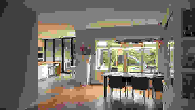 Aanbouw en renovatie van 2-onder-1-kapper met ruime woonkeuken met kookeiland, gietvloer en luxe aluminium vouwschuifpui Moderne woonkamers van Joep van Os Architectenbureau Modern