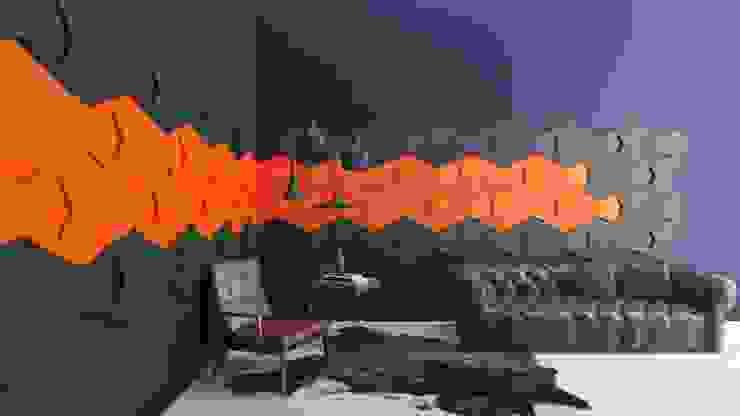 Soft Chain 3D acoustic panels: styl , w kategorii  zaprojektowany przez FLUFFO fabryka miękkich ścian,Nowoczesny