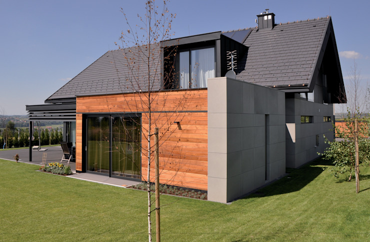 Dom jednorodzinny w Zielonkach koło Krakowa Nowoczesne domy od Studio S Biuro architektoniczne Michał Szymanowski Nowoczesny