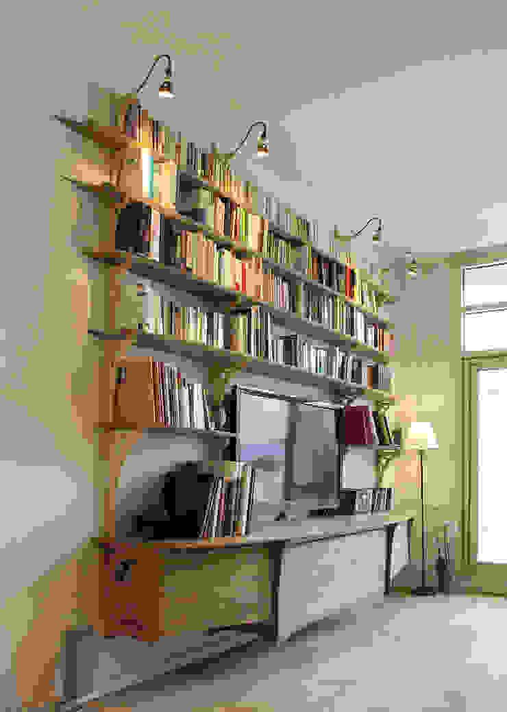 """MultiMédiathèque """"hors sol"""" - vue de profil par Jean Zündel meubles rares Éclectique"""
