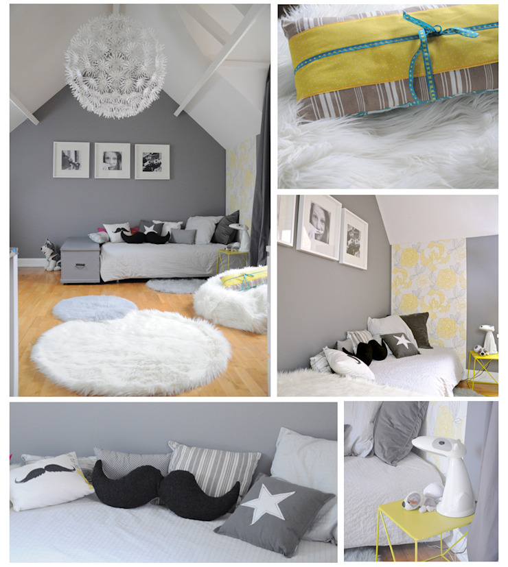 une chambre grise et blanche par idée ô logis | homify