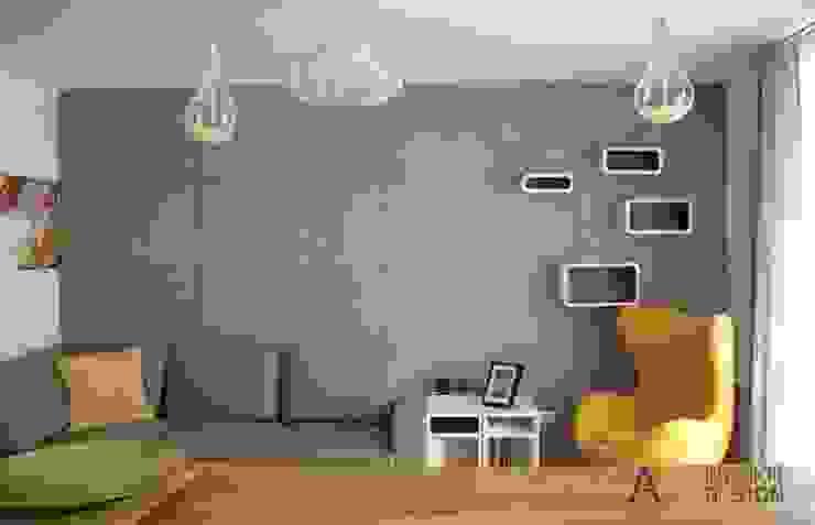 Kawalerka 29 m2 Kraków: styl , w kategorii Salon zaprojektowany przez AW INTERIOR DESIGN,Minimalistyczny