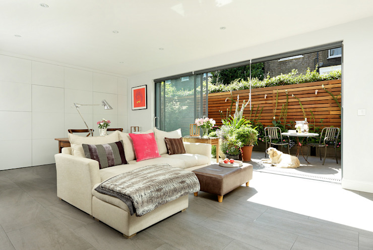 Open-Plan Kitchen/Living Room, Ladbroke Walk, London Ruang Keluarga Modern Oleh Cue & Co of London Modern