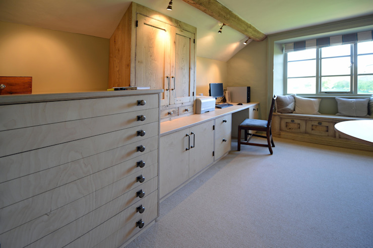 Bleached Oak & Ply Wood Study Industrial style study/office by Hallwood Furniture Industrial