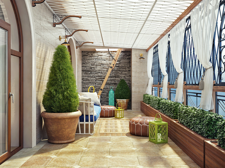 Летняя терраса в частном доме Терраса в средиземноморском стиле от Sweet Home Design Средиземноморский