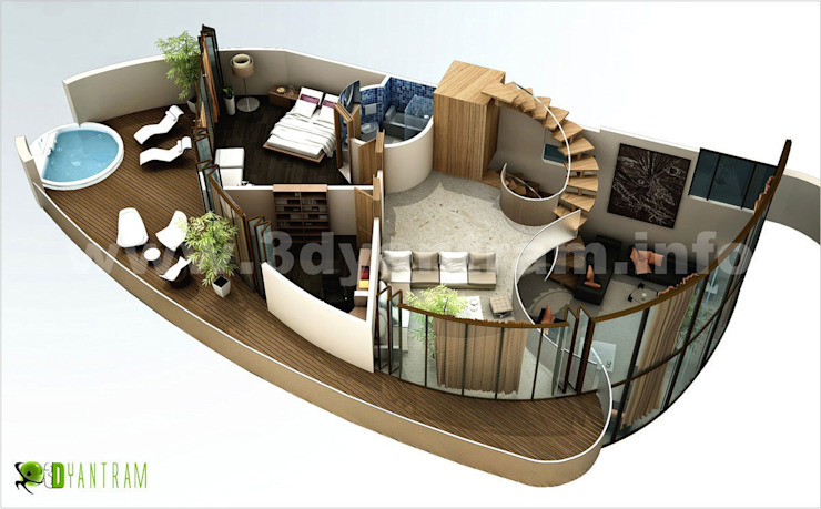 Home 3D Floor Plan bởi Yantram Architectural Design Studio