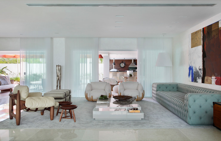 Arquitetura Residencial | Casa de luxo na Barra da Tijuca Salas de estar modernas por Leila Dionizios Arquitetura e Luminotécnica Moderno
