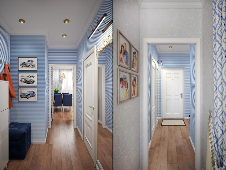 Eclectic style corridor, hallway & stairs by Студия дизайна интерьера Маши Марченко Eclectic