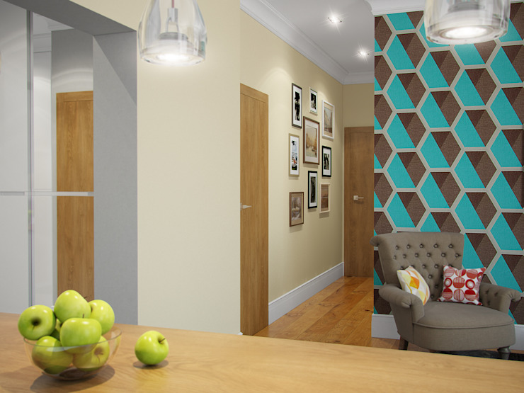 Квартира в ЖК <q>Космос</q> Коридор, прихожая и лестница в скандинавском стиле от Студия дизайна интерьера Маши Марченко Скандинавский