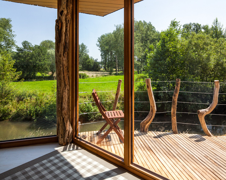 Zwarthout Shou Sugi Ban Balcon, Veranda & Terrasse modernes