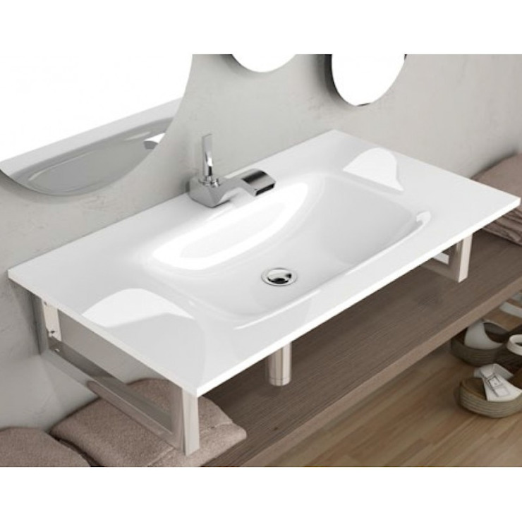 Lavabo sobre mueble fenix masas blanco de The Bath Moderno