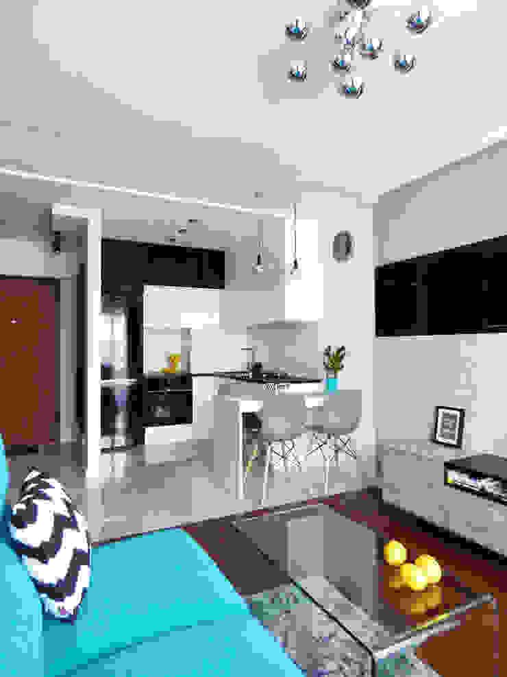 Realizacja projektu mieszkania 35m2-przed i po Nowoczesna kuchnia od Interiori Pracownia Architektury Wnętrz Nowoczesny