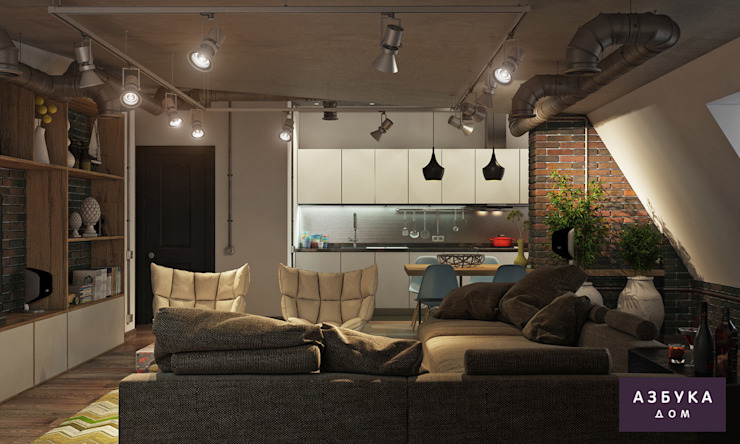 Лофт в г. Пушкин Студия дизайна 'Азбука Дом' Гостиная в стиле лофт