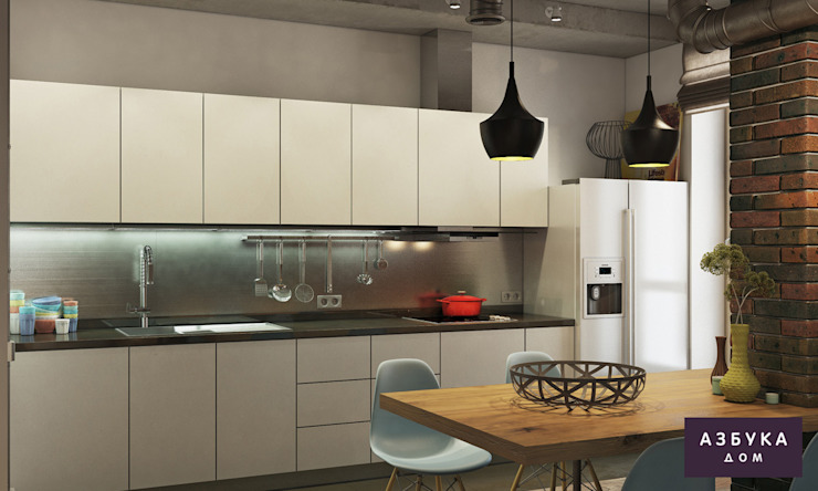 Лофт в г. Пушкин Студия дизайна 'Азбука Дом' Кухня в стиле лофт