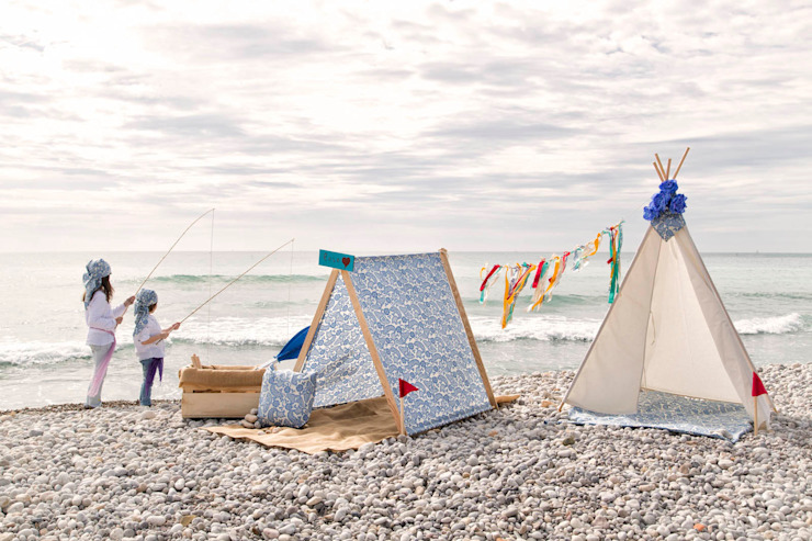 Tipi indio para niños modelo Basic Blanco y casita picniquera modelo Ibiza de Vamos de Picnic Mediterráneo