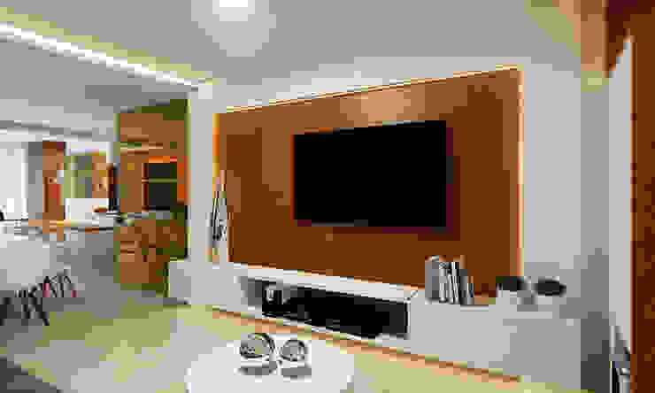 Cozinha Gourmet, Sala de Jantar e Estar Salas de estar modernas por Eliegi Ambrosi Arquitetura e Design de Interiores Moderno