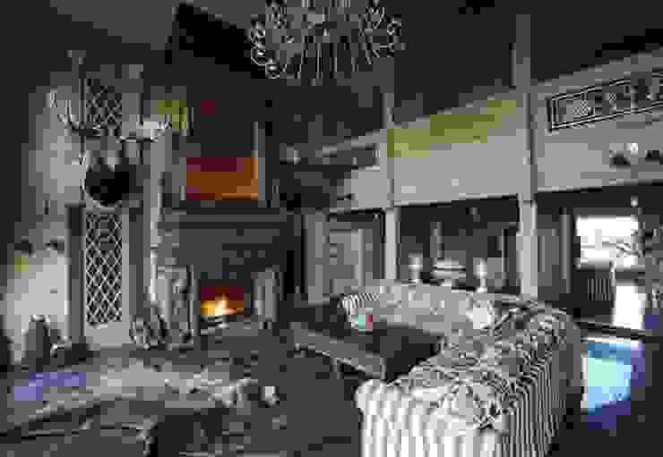 Загородный дом в Конаково Гостиные в эклектичном стиле от Trubnikoff Hall Эклектичный