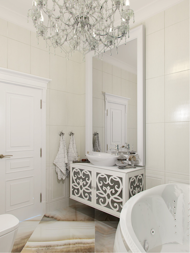 Квартира в ЖК <q>Новая История</q> Ванная комната в эклектичном стиле от Студия дизайна интерьера Маши Марченко Эклектичный
