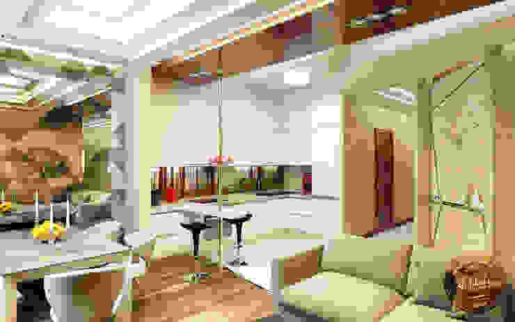 Стильная кухня в едином пространстве Столовая комната в эклектичном стиле от Anfilada Interior Design Эклектичный