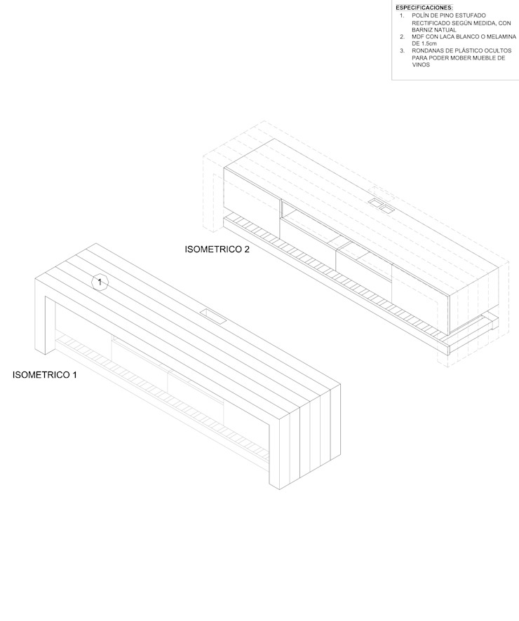MUEBLE PARA TV de gOO Arquitectos