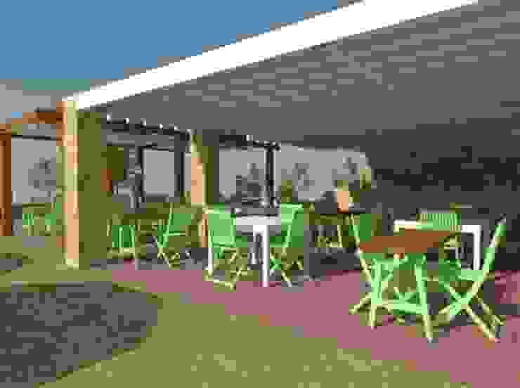 Vista en 3D del comedor exterior Gastronomía de estilo rural de Buena Pieza Interiorismo Rural