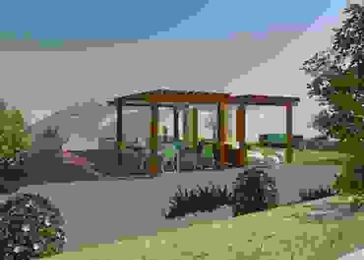 Vista del jardín con zona de pérgolas de Buena Pieza Interiorismo Rural