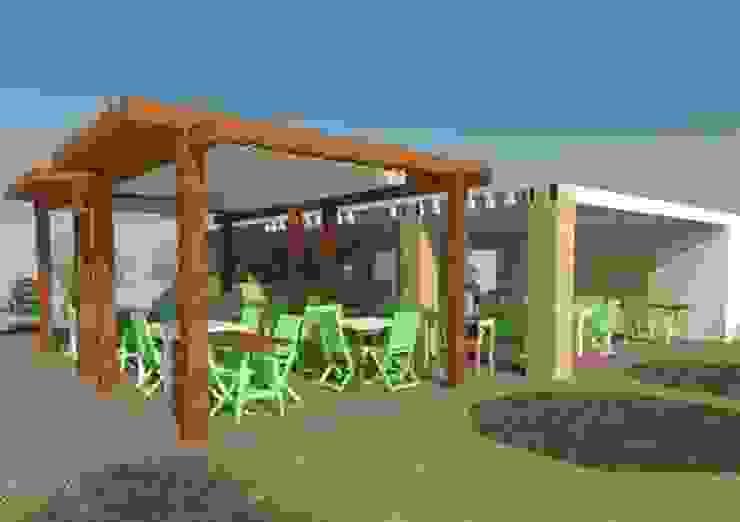 Vista zona de comedor exterior y barra 1 Gastronomía de estilo rural de Buena Pieza Interiorismo Rural