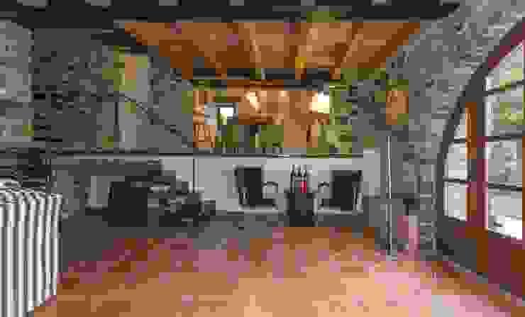 JENS. Reforma y ampliación de antigua masía en La Garrotxa, Girona (Costa Brava) VelezCarrascoArquitecto VCArq Salones rústicos de estilo rústico