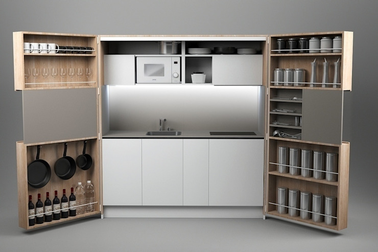 Pop-up kitchen PIA - Wood (KL 257T OBAS) de Dizzconcept Moderno