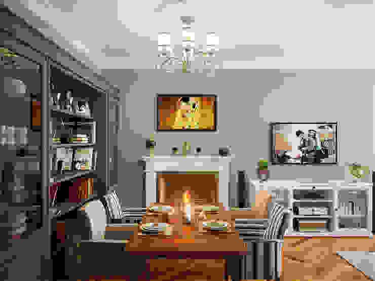 غرفة المعيشة تنفيذ Студия дизайна интерьера Маши Марченко, إنتقائي