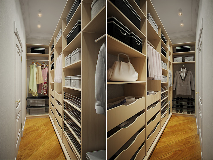 غرفة الملابس تنفيذ Студия дизайна интерьера Маши Марченко, إنتقائي