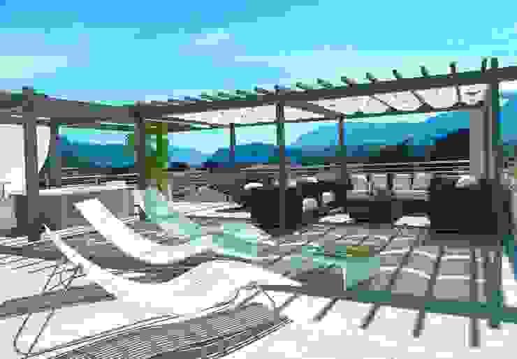 Vista lastrico solare Balcone, Veranda & Terrazza in stile moderno di Grendene Design Moderno