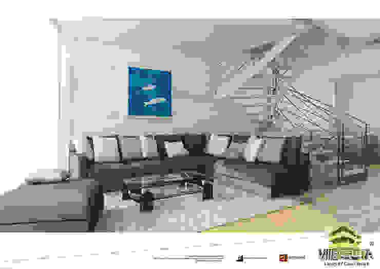 Vista soggiorno unità 1 Soggiorno moderno di Grendene Design Moderno